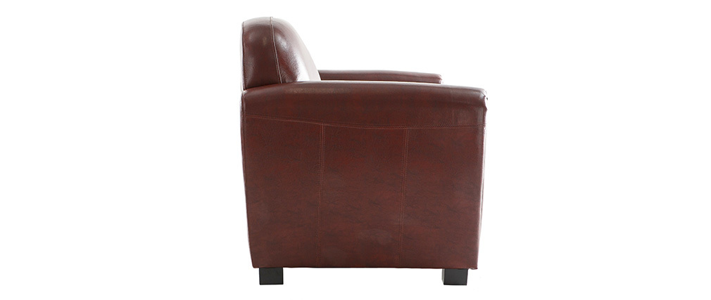 Canap club cuir marron clair 2 places cuir de vachette miliboo for Canape club cuir marron