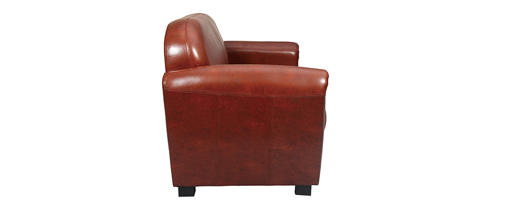 Canapé Club cuir marron clair 3 places - cuir de vachette