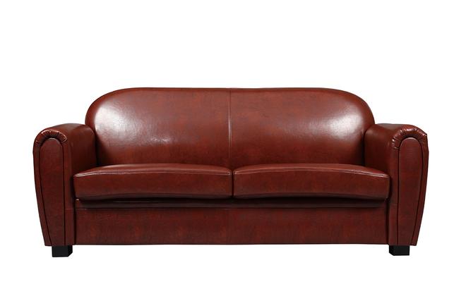 Canapé Club cuir marron clair 3 places - cuir de vachette - Miliboo