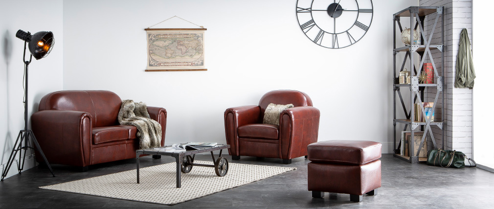 Canapé Club cuir marron foncé 2 places - cuir de vachette