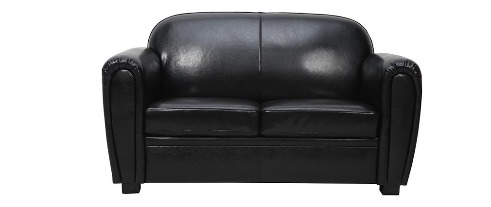 Canapé Club cuir noir 2 places - cuir de vachette