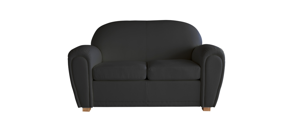 canap club cuir noir 2 places new club miliboo. Black Bedroom Furniture Sets. Home Design Ideas