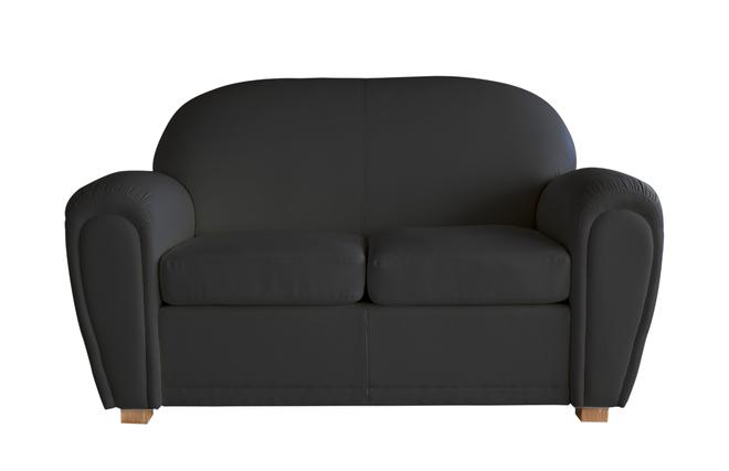 canap club cuir noir 2 places new club miliboo. Black Bedroom Furniture Sets. Home Design Ideas