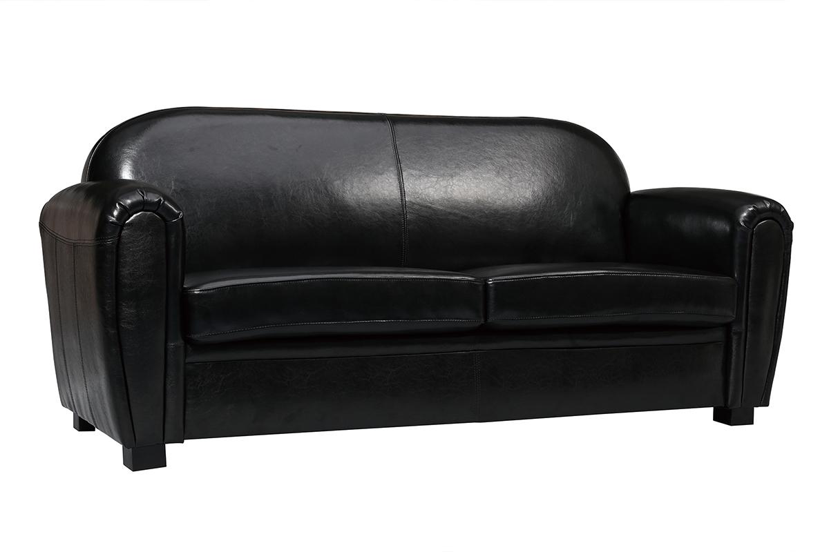 canap club cuir noir 3 places cuir de vachette miliboo. Black Bedroom Furniture Sets. Home Design Ideas