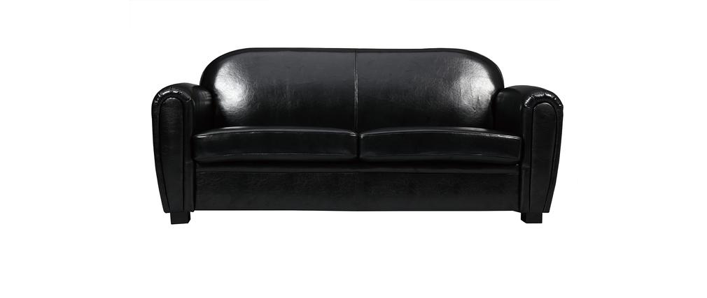 Canapé Club cuir noir 3 places - cuir de vachette