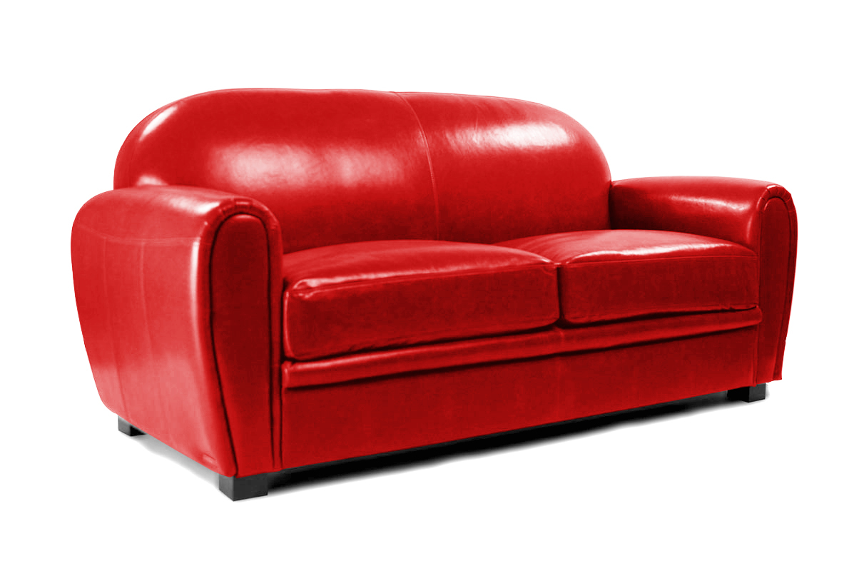 Canap club cuir rouge 3 places cuir de vachette miliboo for Canape chesterfield rouge cuir