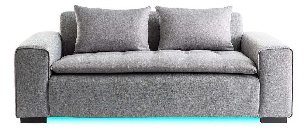 Canapé connecté 3 places tissu gris clair