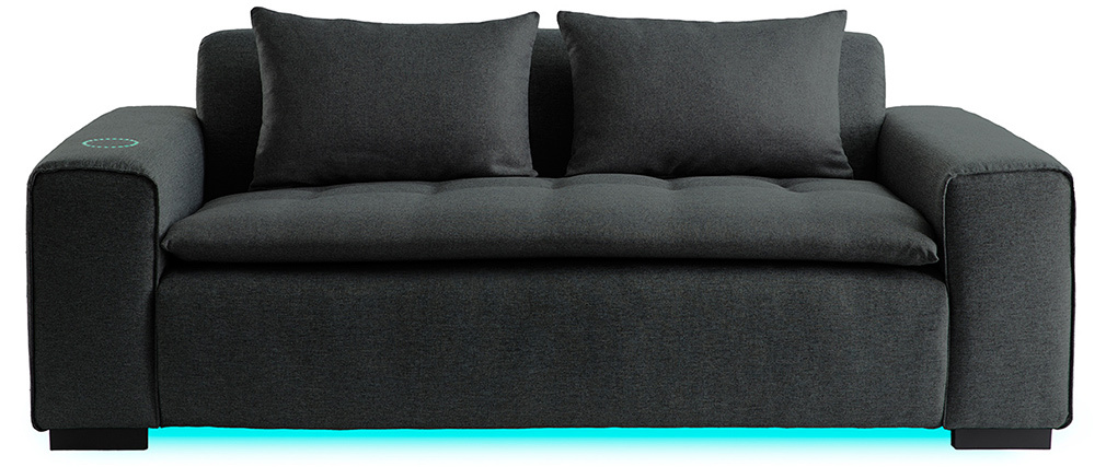 Canapé connecté 3 places tissu gris foncé