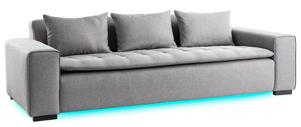 Canapé connecté 4 places tissu gris clair