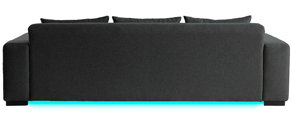 Canapé connecté 4 places tissu gris foncé