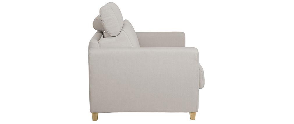 Canapé convertible 3 places avec têtières ajustables beige GOYA