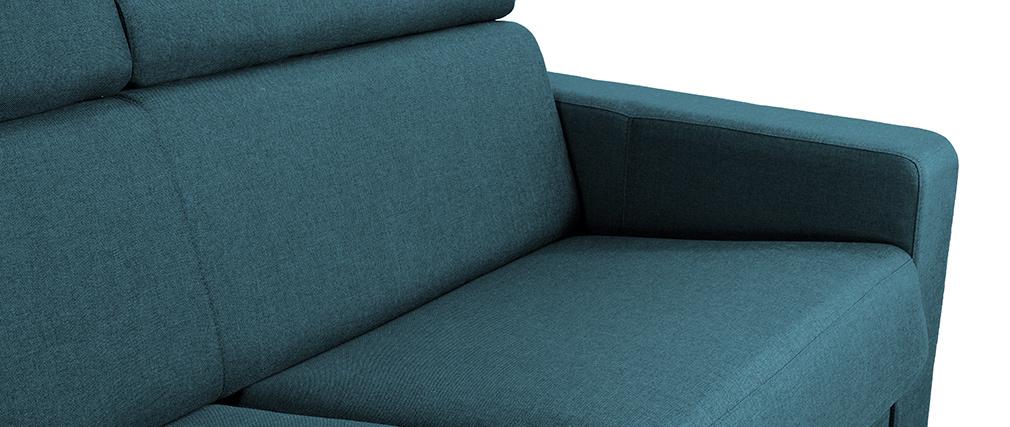 Canapé convertible 3 places avec têtières ajustables bleu canard NORO