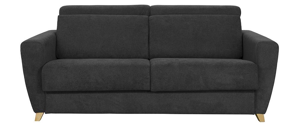Canapé convertible 3 places avec têtières ajustables effet velours gris anthracite GOYA