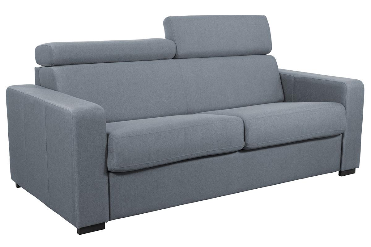 Comment Nettoyer Un Canapé En Cuir Gris Clair canapé convertible 3 places avec têtières ajustables gris