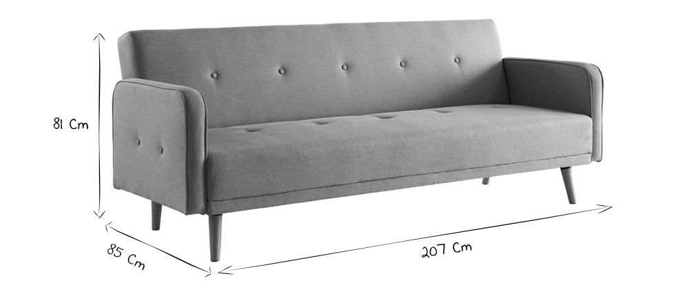 Canapé convertible 3 places design scandinave gris velours ULLA