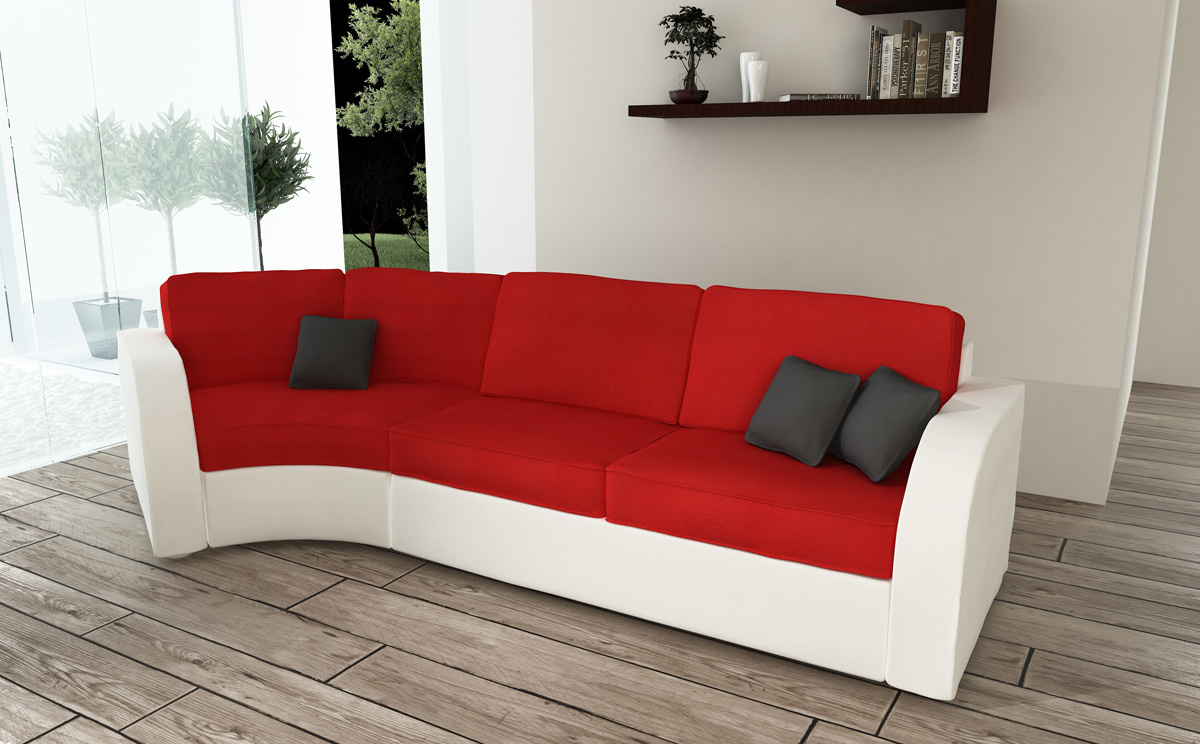 Canap convertible 3 places en coton rouge et blanc miliboo - Convertible 3 places ...