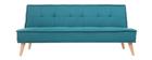 Canapé convertible 3 places en tissu bleu canard et bois SHANTI
