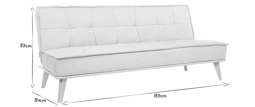 Canapé convertible 3 places en tissu naturel et bois SHANTI