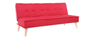 Canapé convertible 3 places en tissu rouge et bois SHANTI