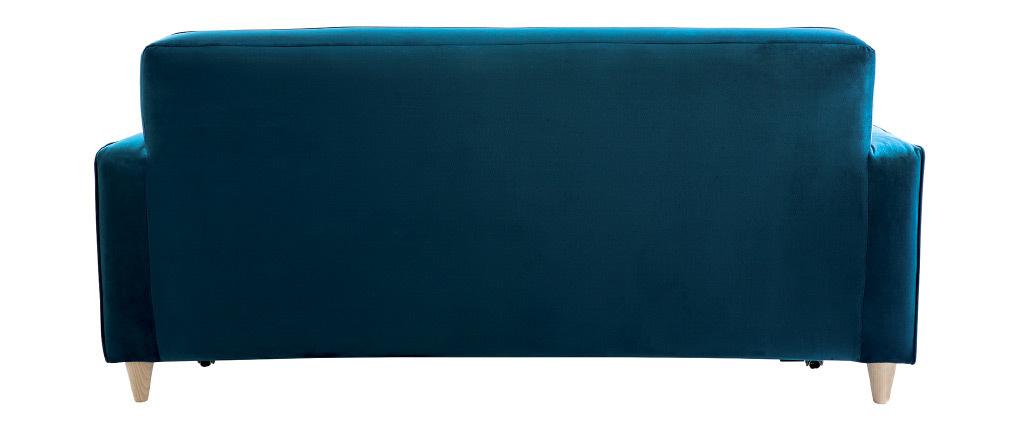 Canapé convertible 3 places en velours bleu paon CIGALE