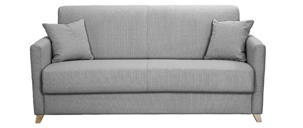 Canapé convertible 3 places scandinave gris perle SKANDY