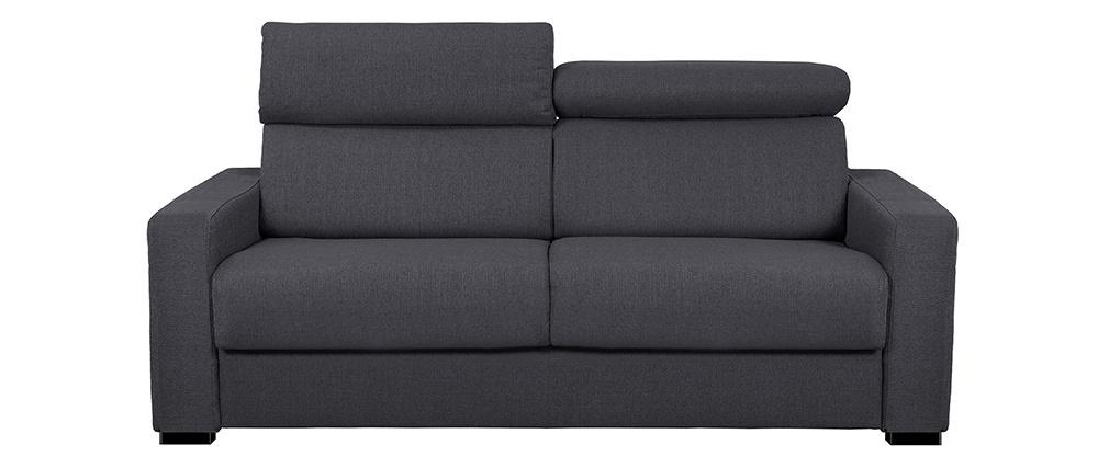 Canapé convertible avec têtières ajustables velours gris anthracite NORO