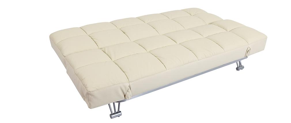 Canapé convertible cuir 3 places beige MANHATTAN - cuir de vache