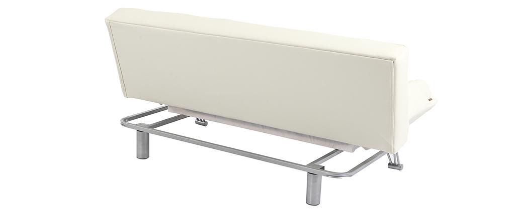 Canapé convertible cuir 3 places blanc cassé MANHATTAN - cuir de vache