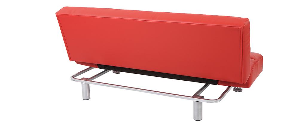 Canapé convertible cuir 3 places rouge MANHATTAN - cuir de vache