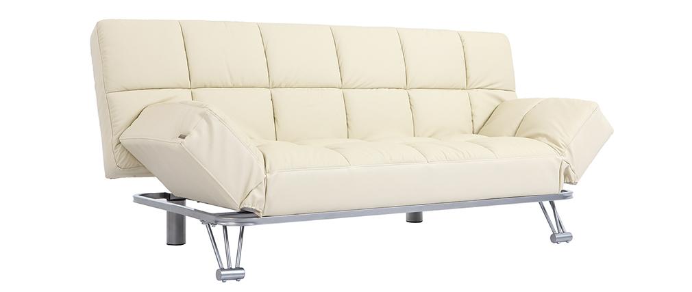 Canapé convertible cuir beige 3 places Manhattan - Cuir de vache