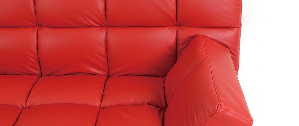 Canapé convertible cuir rouge 3 places Manhattan - cuir de vache