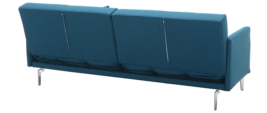 Canapé convertible design 3 places bleu canard ELIN