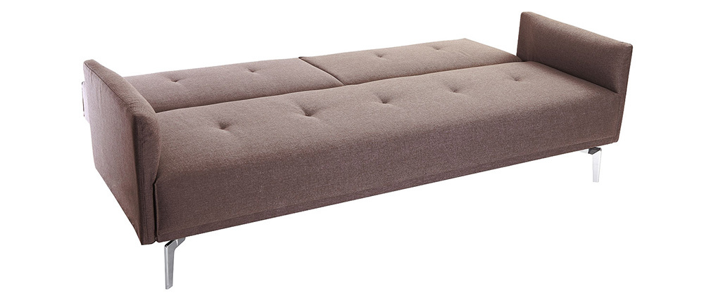 Canapé convertible design 3 places marron clair ELIN