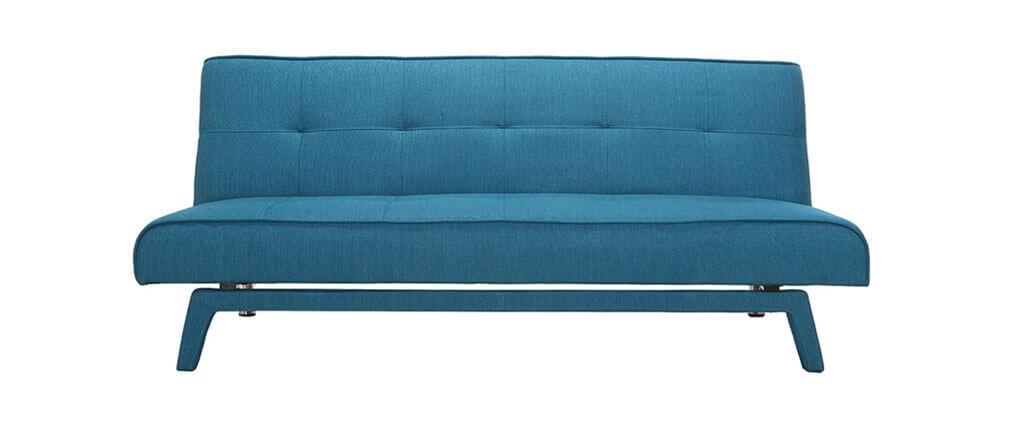 Canapé convertible design 3 places tissu bleu foncé BUCK