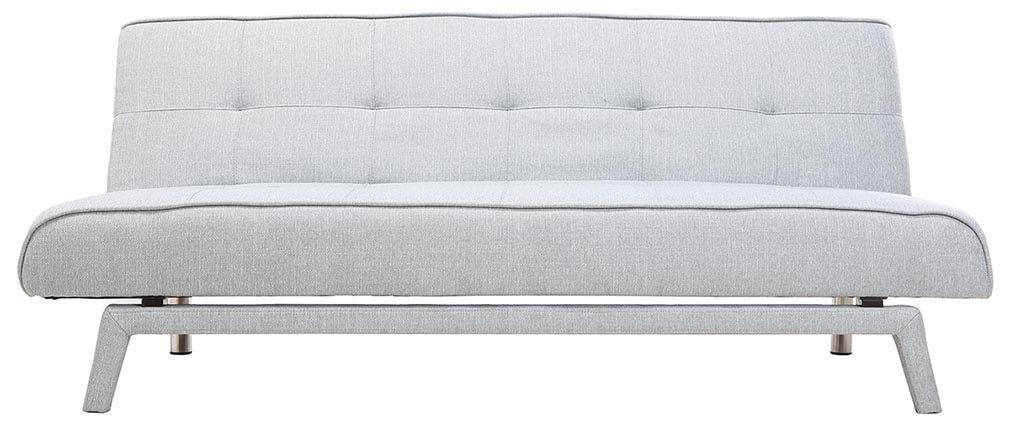 Canapé convertible design 3 places tissu gris clair BUCK