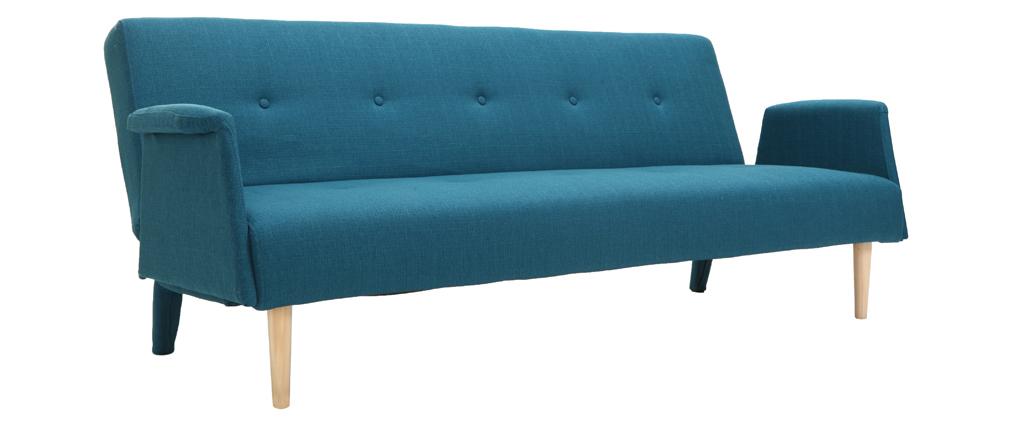 Canapé convertible design bleu canard OSCAR