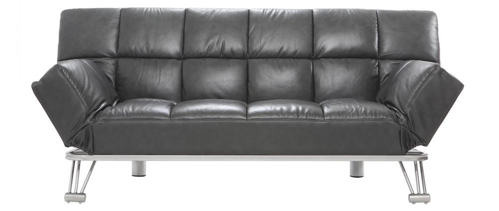 Canapé convertible design en cuir de vache gris MANHATTAN