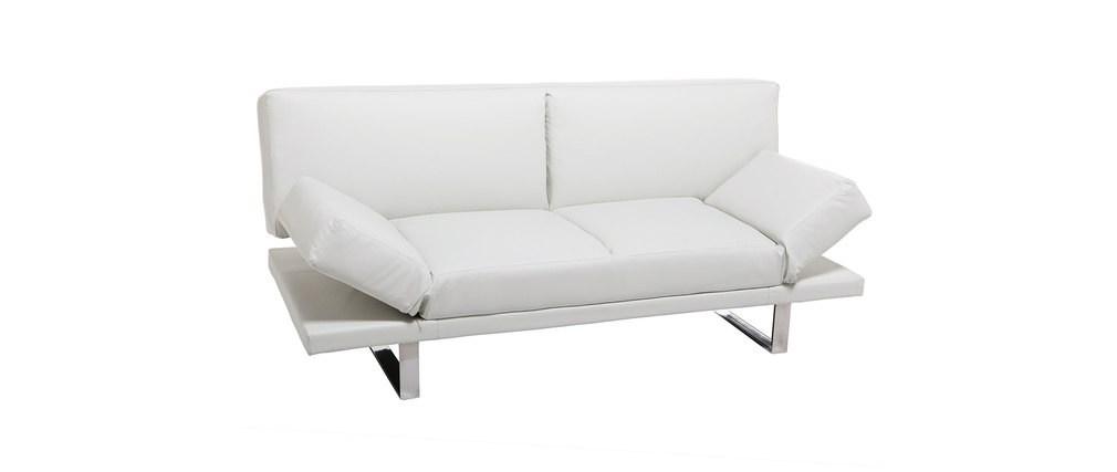 Canap convertible design pu blanc atlanta miliboo - Canape blanc convertible ...