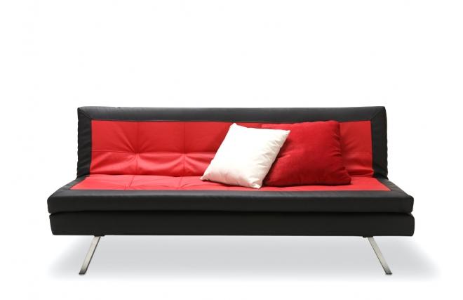 Canapé convertible design rouge et noir TRIBECA Miliboo