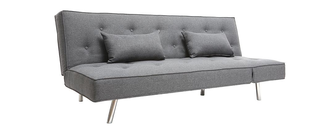 Canapé convertible en tissu gris foncé LEONARD