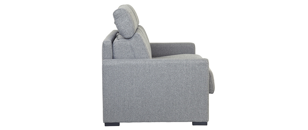 Canapé convertible gris clair avec matelas 18 cm et têtières ajustables NORO