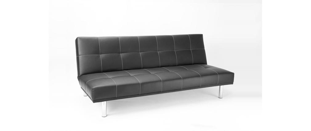 canap convertible noir moderne 3 places phoenix miliboo. Black Bedroom Furniture Sets. Home Design Ideas