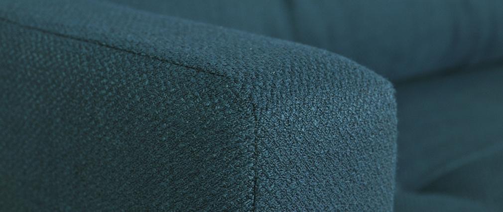 Canapé convertible scandinave 3 places avec coffre bleu paon MIRA