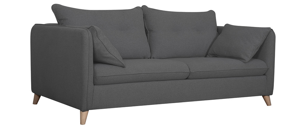 Canapé convertible scandinave 3 places gris anthracite GUILTY