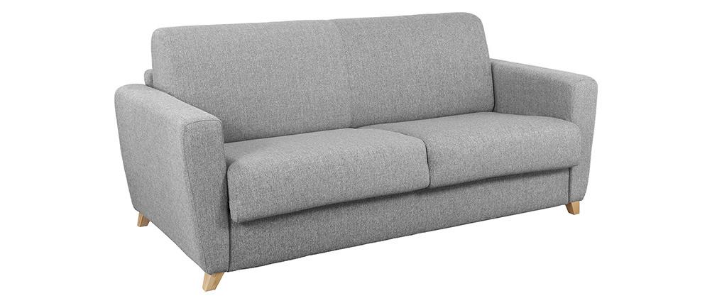 Canapé convertible scandinave gris clair et bois GRAHAM