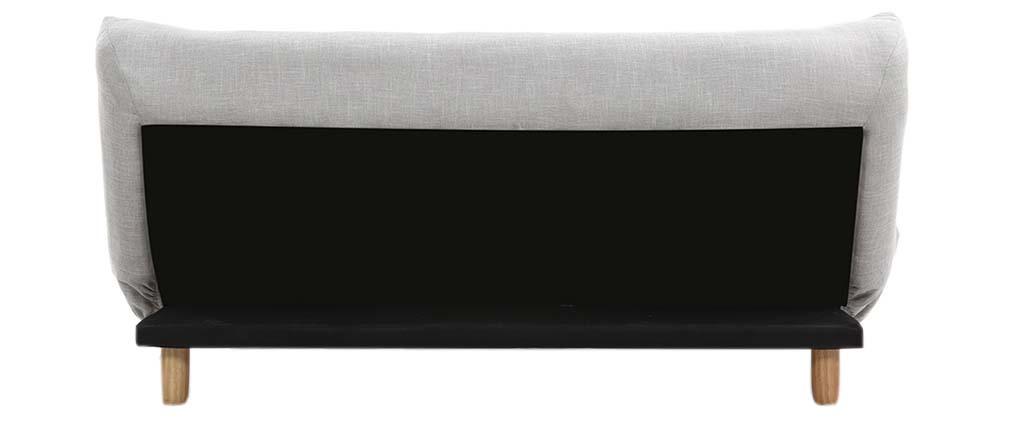 Canapé convertible scandinave gris et chêne YUMI