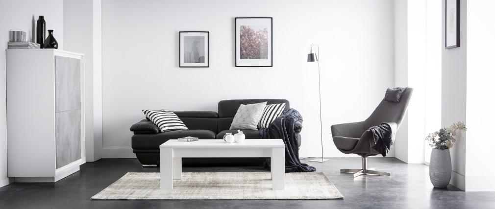 Canapé cuir 2 places avec têtières ajustables noir EWING - cuir de buffle