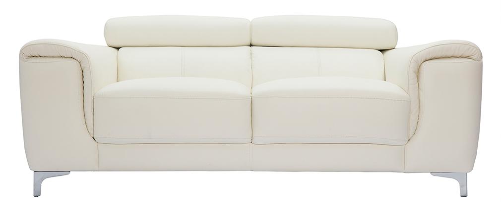 Canapé cuir 2 places avec têtières relax blanc cassé NEVADA - cuir de buffle
