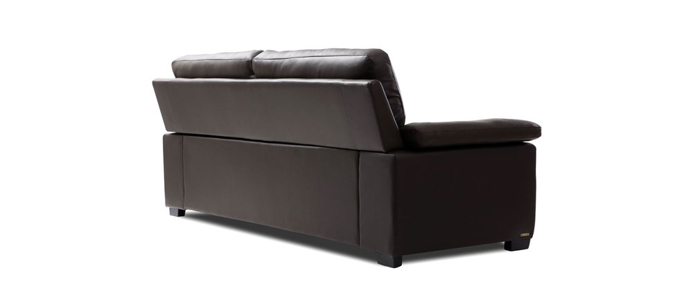 Canap cuir 2 places chocolat fonc pittsburgh cuir de for Canape cuir buffle