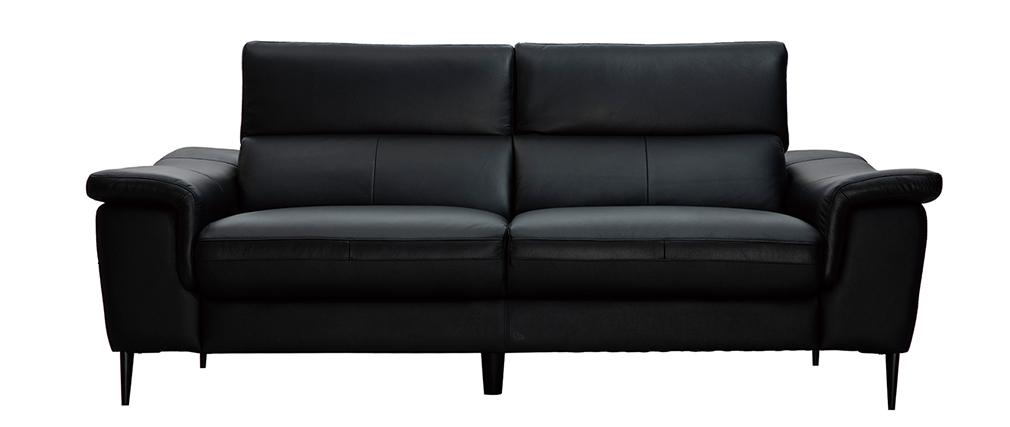 Canapé cuir 3 places noir avec têtières ajustables ROMEO - cuir de buffle